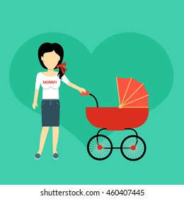 Mother with a baby carriage banner design flat. Parent mother walking with baby in the baby carriage. Mom young happy with toddler, female and motherhood, love and happiness,  illustration