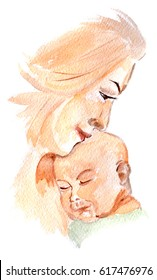 Mother with baby child watercolor. Mother's day. Children day. Greeting card. Newborn baby. Hand drawn watercolor illustration on white background.
