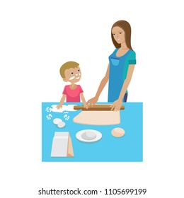 Mother and baby in different lifestyle situations. Happy family. Mom and son are cooking together. Tests food in the kitchen. Cooking training, common everyday life. Illustration in cartoon style.