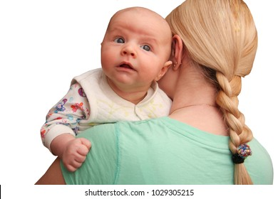 Mother and Baby. Happy Family. Mom With her Child  ?n white isolated background