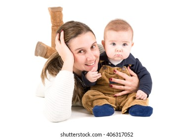 Mother with baby isolated in a white background