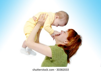 mother and baby on white