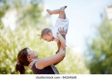 Mother with baby at outdoor