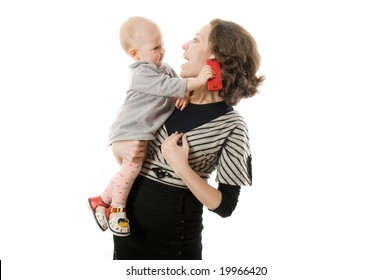 Mother and baby playing over white background