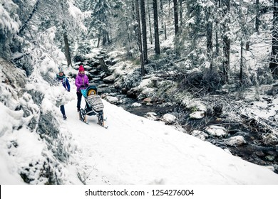 Mother with baby stroller enjoying winter forest with female friend or partner, family time. Hiking or power walking woman with sledge pram in woods. Beautiful winter snowy inspirational mountains.