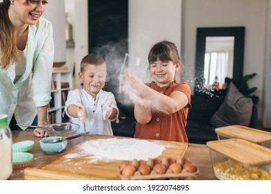 mother baking with their children at home