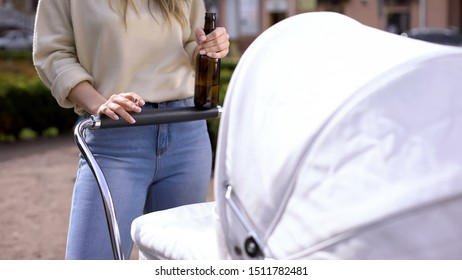 Mother with bottle of beer smoking while swinging carriage, harmful addiction