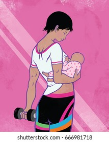 Mother Breastfeeding while exercising