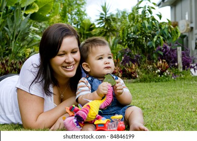 mother and child bonding in the garden