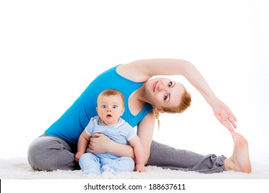 mother with a child engaged in yoga. doing exercises, physical exercises after childbirth. isolated