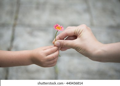 Mother and Child handing a pink flower