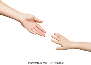 Mother and child hands reaching before touching, isolated on white background. Love, trust, family concept
