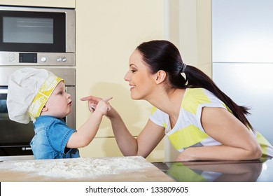 Mother and child having fun at home