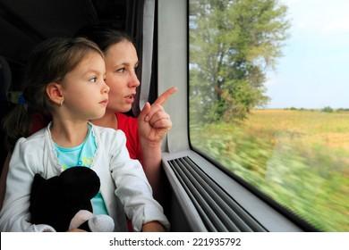 Mère et enfant regardant par la fenêtre du train