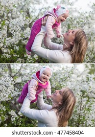 mother and child in nature against the backdrop of blooming gardens