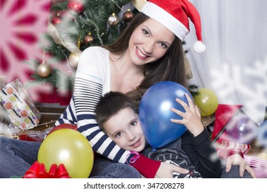 Mother and child on Christmas
