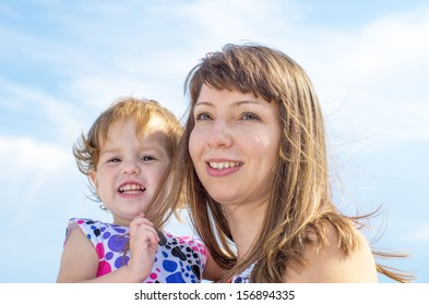 Mother and child in sky