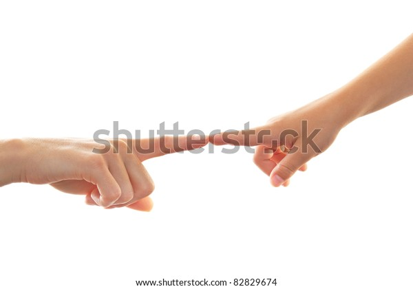 Mother and Child touching finger on finger isolated on white Background