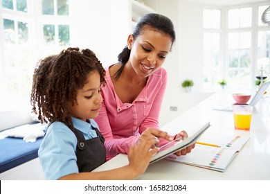 Mother And Child Using Digital Tablet For Homework