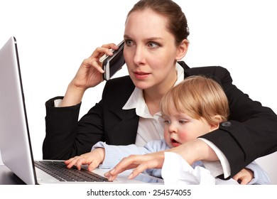 Mother and child at work series image 13