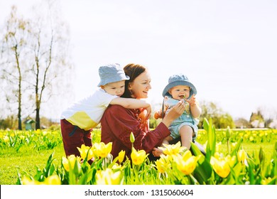 Mother and children among yellow tulips flowers. Woman with her kids playing outdoors in spring park. Family walking on nature. Image of Mother's Day, Easter. Tulip field in Arboretum, Slovenia.