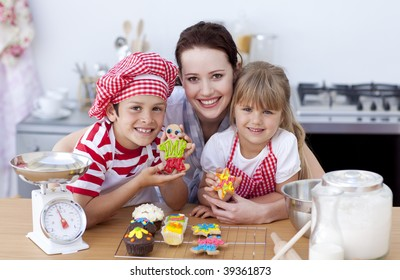 Mother and children baking in the kitchen all together