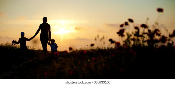 mother, children, family, sea, sunset, flowers, spring,   silhouette,  beautiful, women