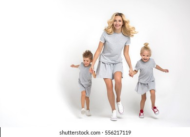 mother with children on a white background