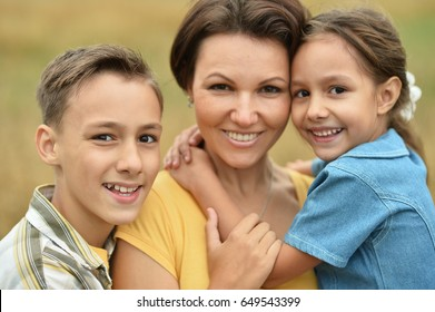 mother with children outdoors