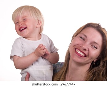 mother with cute daughter laughing