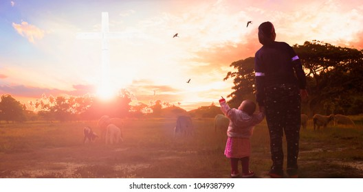 Mother with daughter goes to look for the white cross of Christ Jesus on Easter eve