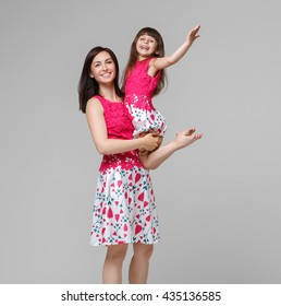 Mother with daughter happy together portrait child, family