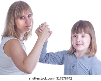 Mother and daughter holding hand isolated white