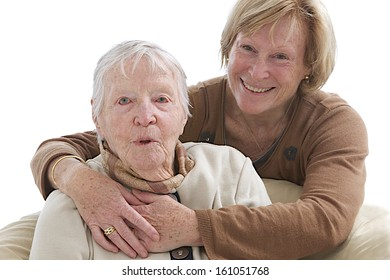 Mother and daughter hugging each other