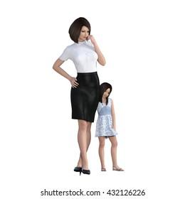 Mother Daughter Interaction of Girl Hugging Mom as an Illustration Concept 3D Illustration Render