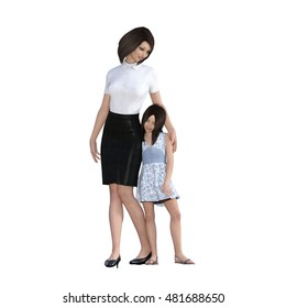 Mother Daughter Interaction of Mom Comforting Girl as an Illustration Concept 3D Illustration Render