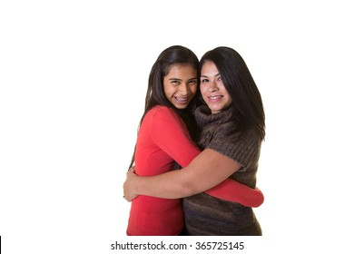 A mother and daughter isolated on white