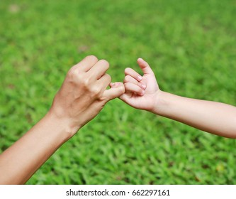 Mother and daughter making a pinkie promise in the green grass garden.