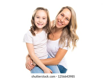 A mother and daughter portrait isolated on white studio.