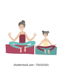 Mother and daughter practicing yoga sitting in the Lotus position. Family Sports and physical activity with children, joint active recreation. Illustration in flat style, isolated. Raster version.