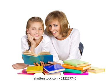 mother and daughter reading books isolated on white
