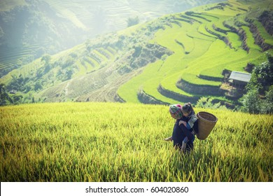 Mother and daughter in rice terraces,Tu Le Lao Cai,Vietnam