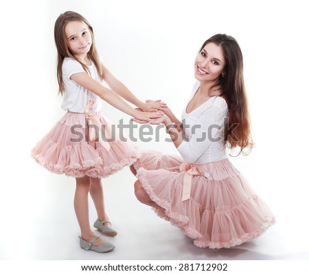 Mother Daughter Same Outfits Posing On Stock Photo Edit Now