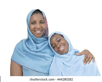 Mother and daughter smiling, maternal love and tenderness, isolated