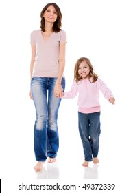 Mother and daughter smiling walking together isolated