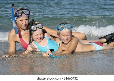 mother, daughter and son in a dress diver