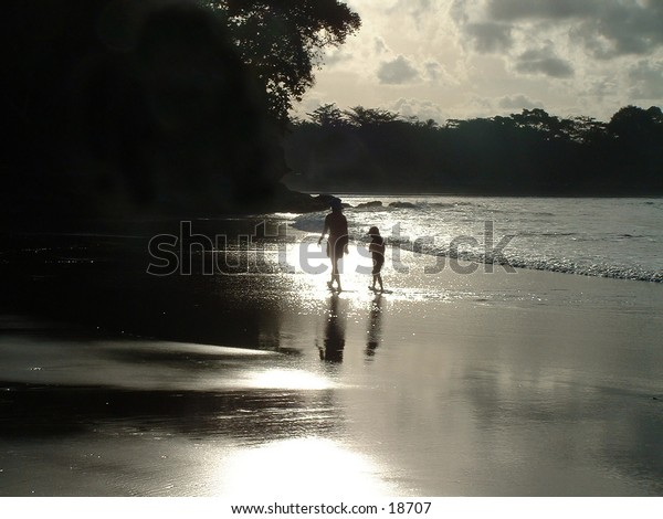 Mother and Daughter at sunset on an Asian beach