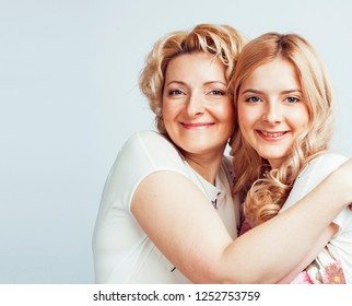 mother with daughter together posing happy smiling isolated on w