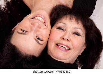The mother and the  daughter,  two happy  women