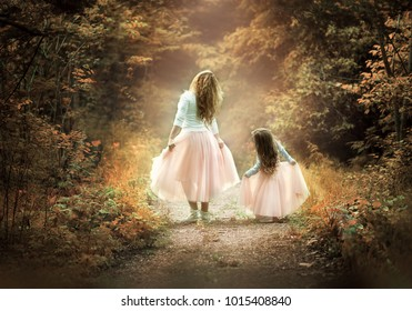 mother and daughter walking in a magical forest